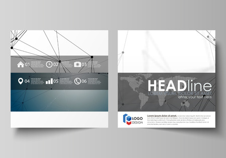 data bases: Business templates for square design brochure, magazine, flyer, booklet. Leaflet cover, vector layout. DNA and neurons molecule structure. Medicine, science, technology concept. Scalable graphic.