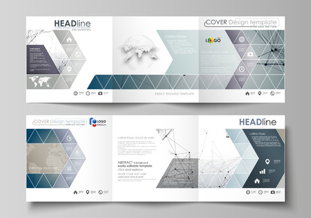 data bases: Set of business templates for tri fold square design brochures. Leaflet cover, abstract vector layout. DNA and neurons molecule structure. Medicine, science, technology concept. Scalable graphic.