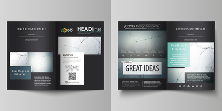 data bases: Business templates for bi fold brochure, magazine, flyer, booklet, report. Cover design template, vector layout in A4 size. Genetic and chemical compounds. DNA and neurons. Chemistry, science concept. Illustration