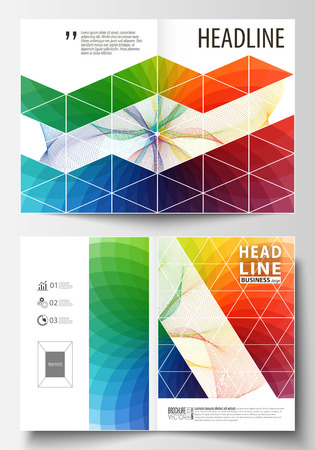 Business templates for bi fold brochure, magazine, flyer. Cover template, easy editable vector, flat layout in A4 size. Colorful design background with abstract shapes and waves, overlap effect.