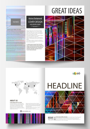 disintegration: Business templates for bi fold brochure, magazine, flyer, booklet, report. Cover design template, abstract vector layout in A4 size. Glitched background made of colorful pixel mosaic. Glitch backdrop.