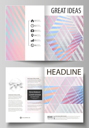 Business templates for bi fold brochure, flyer, booklet or report. Cover template, abstract vector layout in A4 size. Sweet pink and blue decoration, pretty romantic design, cute candy background. Illustration