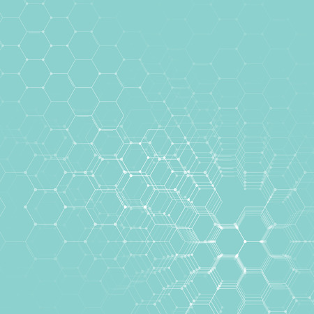 Chemistry 3D pattern, hexagonal molecule structure on blue, scientific medical DNA research. Medicine, science and technology concept. Motion design. Geometric abstract background. Illustration