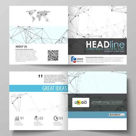 Business templates for square design bi fold brochure, flyer, report. Leaflet cover, vector layout. Chemistry pattern, connecting lines and dots, molecule structure on white, geometric background. Illustration
