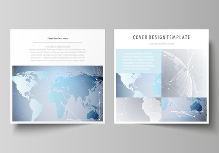 globe logo: The minimalistic vector illustration of the editable layout of two square format covers design templates for brochure, flyer, booklet. Technology concept. Molecule structure, connecting background. Illustration
