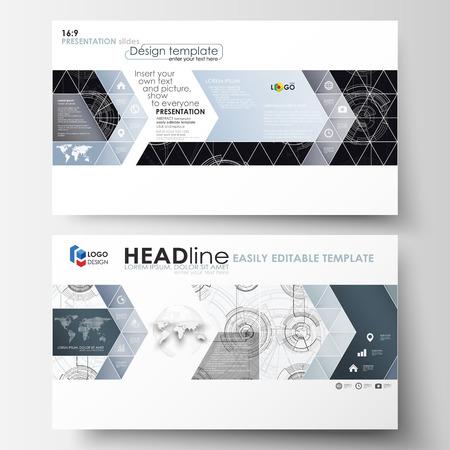 Plantillas comerciales en formato HD para diapositivas de presentación. Diseños editables fáciles Diseño de alta tecnología, sistema de conexión. Concepto de ciencia y tecnología. Fondo de vector abstracto futurista.