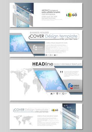 L'illustration vectorielle minimaliste de la mise en page modifiable des médias sociaux, en-têtes d'e-mail, modèles de conception de bannière dans des formats populaires. Carte du monde sur la conception de la technologie géométrique bleu, texture polygonale. Vecteurs
