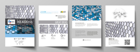 Business templates for brochure, magazine, flyer, report. Cover design template, vector layout in A4 size. Blue and gray color hexagons in perspective. Abstract polygonal style background.