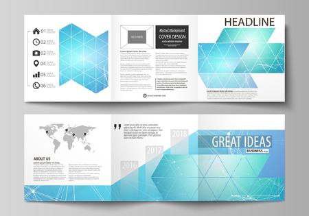 三折り正方形デザイン パンフレットのビジネス テンプレートのセットです。リーフレットの表紙、レイアウトをベクトルします。化学パターン、線  イラスト・ベクター素材