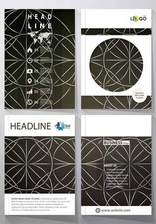 irish map: Business templates for brochure, magazine, flyer, booklet, report. Cover design template, vector layout in A4 size. Celtic pattern. Abstract ornament, geometric vintage texture, medieval ethnic style.