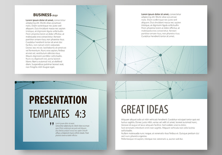 macromolecule: Set of business templates for presentation slides. Abstract vector layouts in flat design. Geometric pattern, connected line and dots. Molecular structure. Scientific, medical, technology concept.