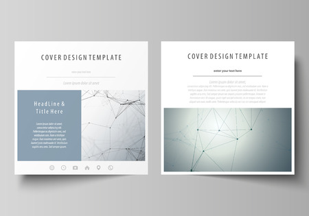 data bases: Business templates for square design brochure, magazine, flyer. Leaflet cover, vector layout. Genetic and chemical compounds. Atom, DNA and neurons. Medicine, chemistry concept. Geometric pattern. Illustration