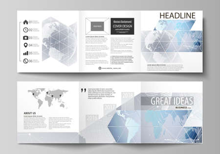 The minimalistic vector illustration of the editable layout. Two modern creative covers design templates for square brochure or flyer. Technology concept. Molecule structure, connecting background.