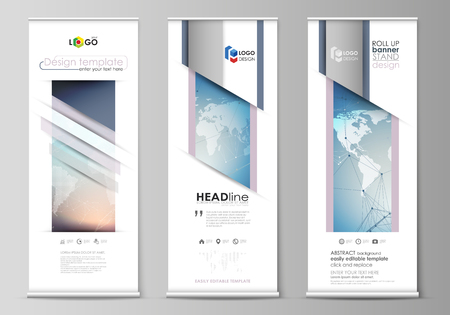 The minimalistic vector illustration of editable layout of roll up banner stands, vertical flyers, flags design business templates. Polygonal geometric linear texture. Global network, dig data concept Illustration