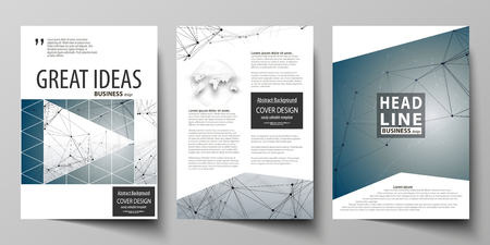 data bases: Business templates for brochure, magazine, flyer, booklet. Cover design template, vector layout in A4 size. DNA and neurons molecule structure. Medicine, science, technology concept. Scalable graphic.