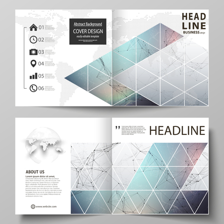 Business templates for square design bi fold brochure, flyer, report. Leaflet cover, vector layout. Compounds lines and dots. Big data visualization in minimal style. Graphic communication background.
