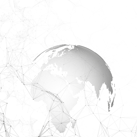 Abstract futuristic network shapes. High tech background, connecting lines and dots, polygonal linear texture. World globe on white. Global network connections, geometric design, dig data concept. Illustration