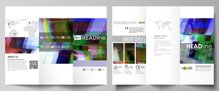 both sides: Tri-fold brochure business templates on both sides. Easy editable abstract vector layout in flat design. Glitched background made of colorful pixel mosaic. Digital decay, signal error, television fail Illustration
