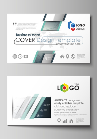 data bases: Business card templates. Easy editable layout, abstract vector design template. Genetic and chemical compounds. Atom, DNA and neurons. Medicine, chemistry, science concept. Geometric background. Illustration
