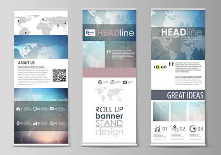 The minimalistic illustration of the editable layout of roll up banner stands, vertical flyers, flags design business templates. Polygonal geometric linear texture. Global network, dig data concept. Illustration