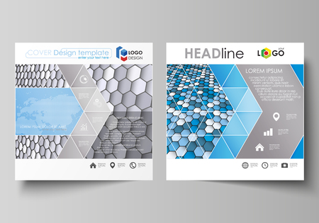 Business templates for square design brochure, magazine, flyer, annual report. Leaflet cover, vector layout. Blue and gray color hexagons in perspective. Abstract polygonal style modern background.