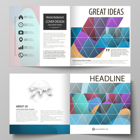 Business templates for bi fold square brochure, magazine, flyer, annual report. Leaflet cover, flat style vector layout. Bright color pattern, colorful design with shapes forming abstract background. Illustration