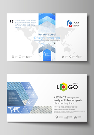 visualize: Business card templates. Easy editable vector layout. Blue color abstract design infographic background in minimalist style made from lines, symbols, charts, diagrams and other elements. Illustration