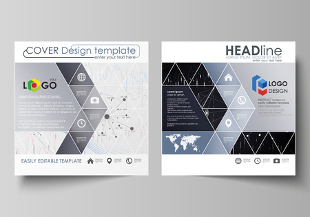 visualize: Business templates for square design brochure, flyer, annual report. Leaflet cover, vector layout. Colorful abstract infographic background with lines, symbols, charts, diagrams and other elements.