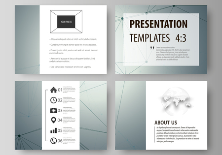 data bases: Business templates for presentation slides. Vector layouts in flat design. Genetic and chemical compounds. Atom, DNA and neurons. Medicine, chemistry, technology concept. Geometric background.
