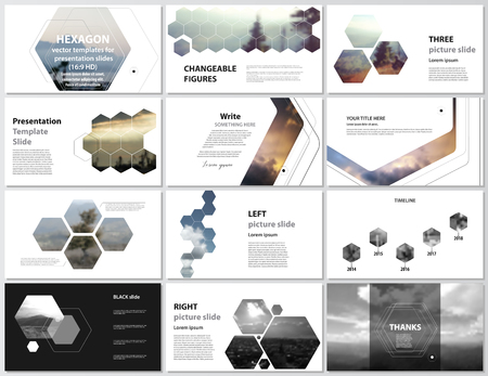 The minimalistic abstract vector illustration of editable layout of high definition presentation slides design business templates. Hexagonal style decoration for flyer, report, advertising, brochure 向量圖像