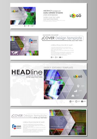 glitch: Social media and email headers set, modern banners. Abstract design templates, vector layouts. Glitched background made of colorful pixel mosaic. Digital decay, signal error, television fail.