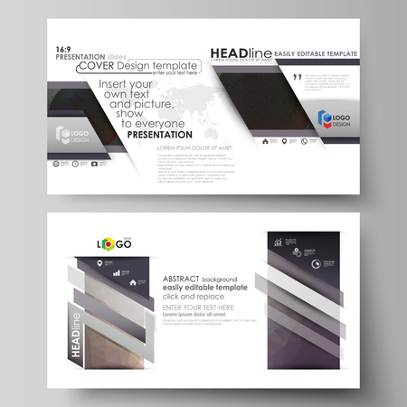 visualize: Business templates in HD format for presentation slides. Easy editable vector layouts in flat design. Dark color triangles and colorful circles. Abstract polygonal style modern background. Illustration