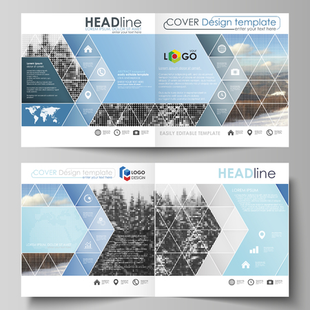 Business templates for square design bi fold brochure, flyer, booklet or annual report. Leaflet cover, vector layout. Abstract landscape of nature. Dark color pattern in vintage style, mosaic texture.