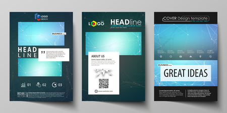 commercial medicine: Business templates for brochure, magazine, flyer, booklet, report. Cover design template, vector layout in A4 size. Chemistry pattern, molecule structure, medical DNA research. Medicine concept.