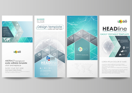 graphic display cards: The minimalistic abstract vector illustration of editable layout of four modern vertical banners, flyers design business templates. Chemistry pattern. Molecule structure. Medical, science background.