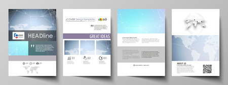 format: The vector illustration of the editable layout of A4 format covers design templates for brochure, magazine, flyer, booklet, report. Polygonal texture. Global connections, futuristic geometric concept.