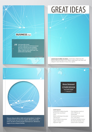 format: The vector illustration of editable layout of four A4 format covers with the circle design templates for brochure, magazine, flyer. Molecule structure. Science, technology concept. Polygonal design. Illustration