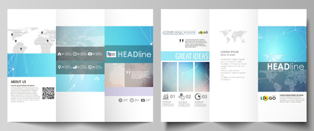 catalog: The minimalistic abstract vector illustration of editable layout of two creative tri-fold brochure covers design business templates. Molecule structure. Science, technology concept. Polygonal design. Illustration