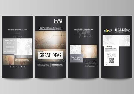 graphic display cards: The black colored minimalistic vector illustration of the editable layout of four vertical banners, flyers design business templates. Global network connections, technology background with world map.