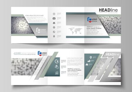 Muster aus Quadraten, grauer Hintergrund im geometrischen Stil. Einfache Textur. Set von Business-Vorlagen für Tri-Fold-Quadrat-Design-Broschüren. Faltblattabdeckung, abstraktes Layout, einfach editierbarer Vektor.