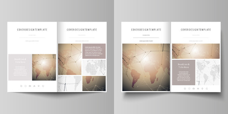 Global network connections, technology background with world map. The minimalistic vector illustration of editable layout of two A4 format modern covers design templates for brochure, flyer, report.