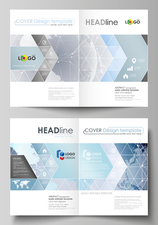 Technology concept. Molecule structure, connecting background. The vector illustration of the editable layout of two A4 format modern cover mockups design templates for brochure, magazine, flyer.
