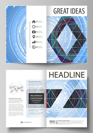 Business templates for bi fold brochure, magazine, flyer, booklet, report. Cover design, abstract vector layout in A4 size. Blue color background in minimalist style made from colorful circles Illustration