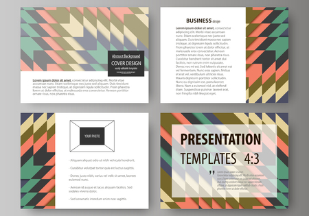 ethno: Set of business templates for presentation slides. Abstract vector layouts in flat design. Tribal pattern, geometrical ornament in ethno syle, ethnic hipster backdrop, vintage fashion background. Illustration