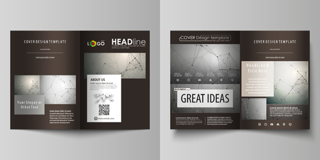 Business templates for bi fold brochure, magazine, flyer. Cover design template, vector layout in A4 size. Chemistry pattern, molecule structure on gray background. Science and technology concept.