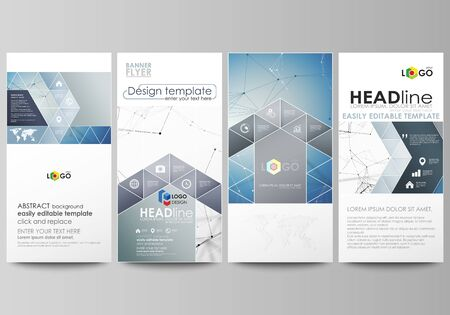 graphic display cards: Flyers set, modern banners. Business templates. Cover design template, abstract vector layouts. Geometric blue color background, molecule structure, science concept. Connected lines and dots.