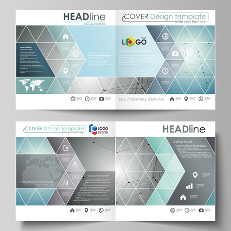 Business templates for square design bi fold brochure, flyer, booklet or annual report. Leaflet cover, abstract vector layout. Geometric background. Molecular structure. Medical, technology concept.