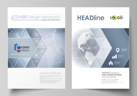 magazine design: The vector illustration of the editable layout of two A4 format covers with triangles design templates for brochure, flyer, booklet. Abstract futuristic network shapes. High tech background.
