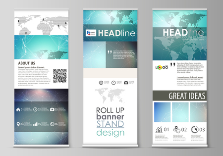 The minimalistic vector illustration of editable layout of roll up banner stands, vertical flyers, flags design business templates. Molecule structure, connecting lines and dots. Technology concept.