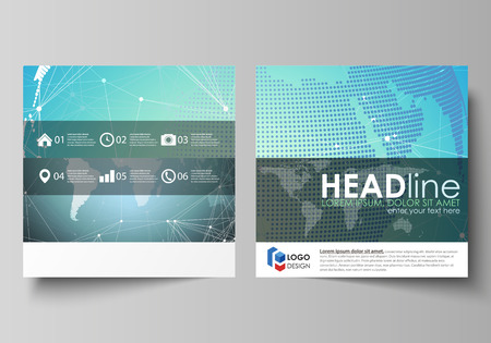magazine design: The minimalistic vector illustration of editable layout of two square format covers design templates for brochure, flyer, booklet. Chemistry pattern, molecule structure, geometric design background. Illustration